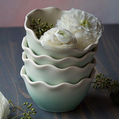 Mint Ruffle Ceramic Bowl - 5.75