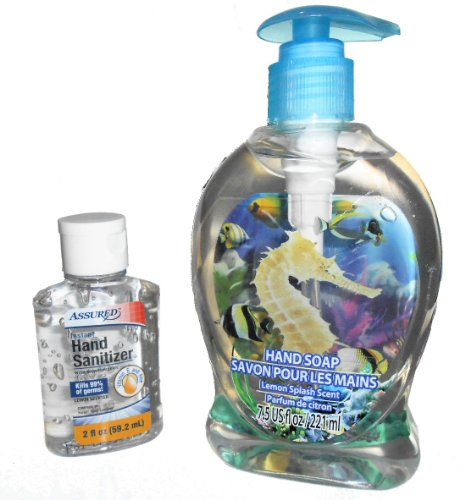 3D Tropical Seahorse Hand Soap Pump with Lemon Splash Scent 7.5 Oz and 2 Oz. Lemon Scented Hand Sanitizer by ASSURED