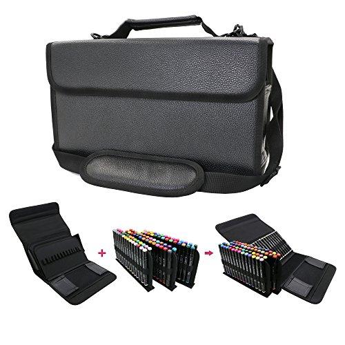 Best Price YOUSHARES Marker Storage Case Lipstick Organizer - 80 Slots Carrying PU Leather Storage M...