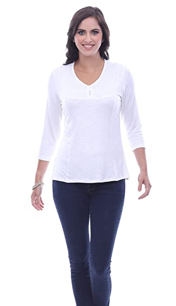 a99b4ec5b6b Parsley & Sage Joanna, V-Neck, 3/4 Sleeve, Back Panel White Fashion ...