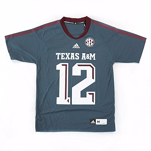 adidas Texas A&M Aggies NCAA Men's Grey Official Football #12 Jersey (2XL) -