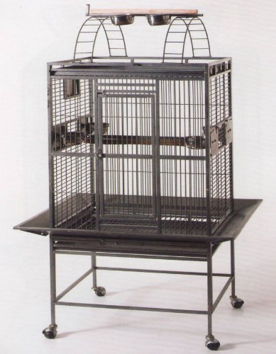 New Large Wrought Iron Bird Parrot Cage Open and Close Play Top *Black Vein*, My Pet Supplies