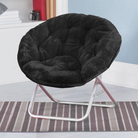 Mainstays Faux-Fur Saucer Chair, Soft, wide seat Foldable steel frame (Black)