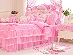 MeMoreCool Home Textile Elegant Design Pastoral Style Floral Lace Princess Bedding Set Girly Ruffle Duvet Cover Fashion Exquisite Falbala Bed Skirt Full Size 4Pcs