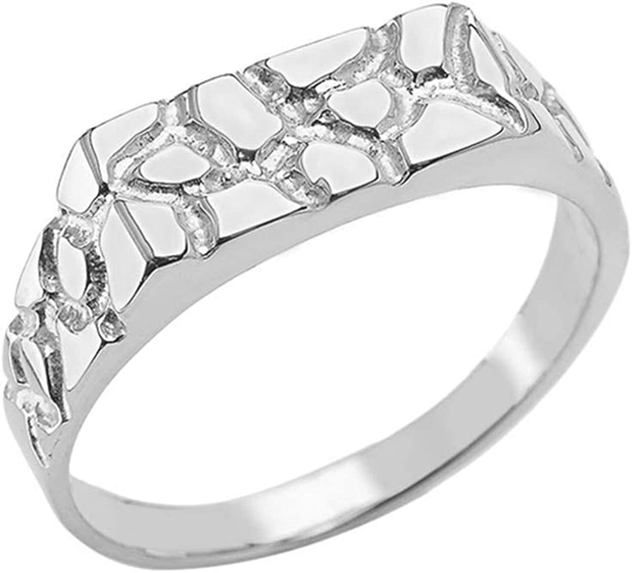 Men's Fine Sterling Silver Flat-Style Pinky Nugget Ring