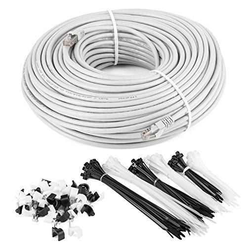 Maximm Cat6 Snagless Ethernet Cable - 100 Feet - White - Pure Copper - UL Listed - Cable Ties Included