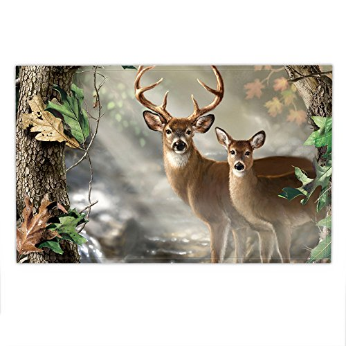 HNMQ 17 X 23 Inches Mat Set, Flannel Non-slip Bath Mat and Rug for Towel ,Cute Deer,Pattern, Bathroom (Deer Bath)