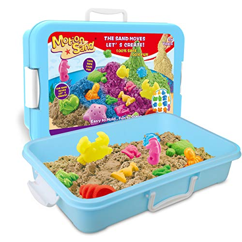 Motion Sand Play Sand , 2.2LBS of Natural Sand and Motion Garden Playset with 15 Pcs Molds Kit, Non-Toxic Sand for Kids