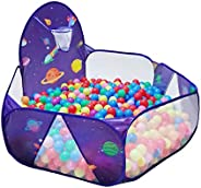 LOJETON Kids Ball Pit Pop Up Children Play Tent, Toddler Space Pool Baby Crawl Playpen with Basketball Hoop and Zipper Stora