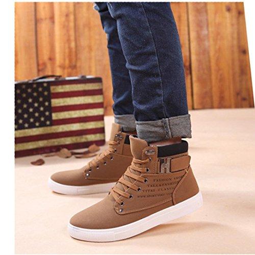 Mens Deluxe High-top Mode Sneakers Spets-up Promenadskor Stövlar Khaki