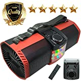 EMB Bluetooth Boombox Street Disco Stereo Speaker - 3600mAH Rechargeable Battery Portable Wireless 300 Watts Power FM Radio/MP3 Player w/Remote and Disco Lights (Red)