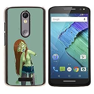LECELL--Funda protectora / Cubierta / Piel For Motorola MOTO X3 3rd -- Cabello zombi verde de la muchacha mujer Largo Castaña --