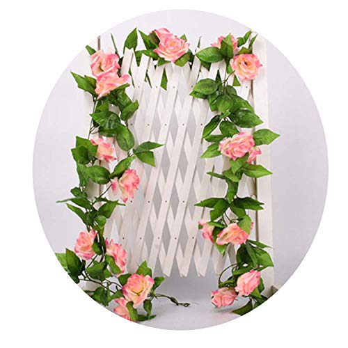 Miao Express 1 Pcs Silk Roses Ivy Vine with Green Leaves for Home Wedding Decoration Fake Leaf DIY Hanging Garland Artificial Flowers,9pcs - Wedding Flowers Lilly Favor