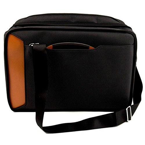 OTSK Black Orange Professor Briefcase Backpack Nylon Signature Pattern by OTSK