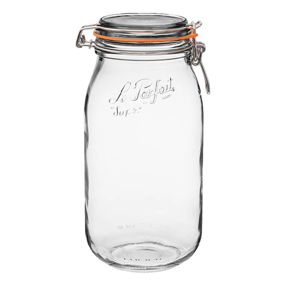 3 LE PARFAITスーパーJars – Wide Mouth FrenchガラスPreserving Jars – ゼロWasteパッケージ( 3 , 2000 ml – 64oz – 2リットル) B0779F9GM3