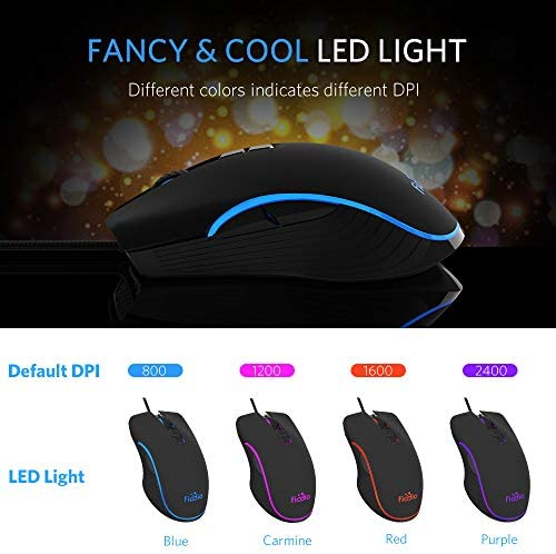 FIODIO Wired Gaming Mouse, 4 RGB LED Backlight Modes Computer Gaming Mice with 4 Levels Adjustable DPI up to 2400, Comfortable Ergonomic Optical PC Laptop MacBook Gamer Mouse for Windows 7/8.1/10 51XlRkK5hAL