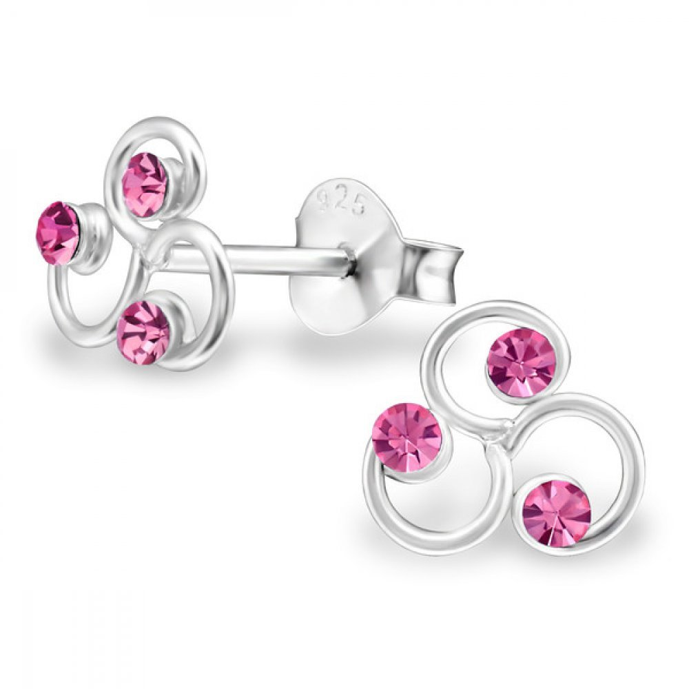 Sterling Silver Rose Children's Triskelion Stud Earrings with Crystal