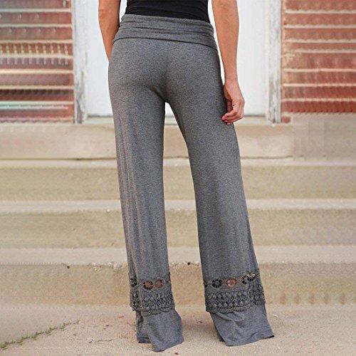 Moda Alta Monocromo Women Larghi Eleganti Casual Libero Pantalone Pants Vita Cucitura Dunkelgrau Giovane Grazioso Hollow Autunno Primaverile Pantaloni Donna Tempo Colpo 7qwY1PP