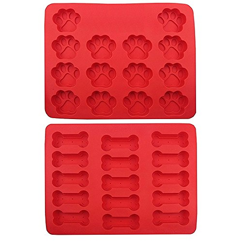 Evoio 2-Pack 14-cavity Silicone Dog Tray Mold, Dog Pets Paws & Fish & Bones Silicone Baking Molds, Bake Dog Cat Treats For Pets, Kids, Dog-lovers, Kitchen Freezer by Evoio