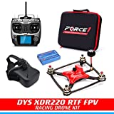 FPV Drone Racing Kit - DYS XDR220 RTF FPV Racing Drone | RC Quadcopter with HD CCD Camera, Carbon Fiber Frame, SP F3 Flight Controller | Radiolink AT-9 Transmitter | FPV Goggles | Balance Charger
