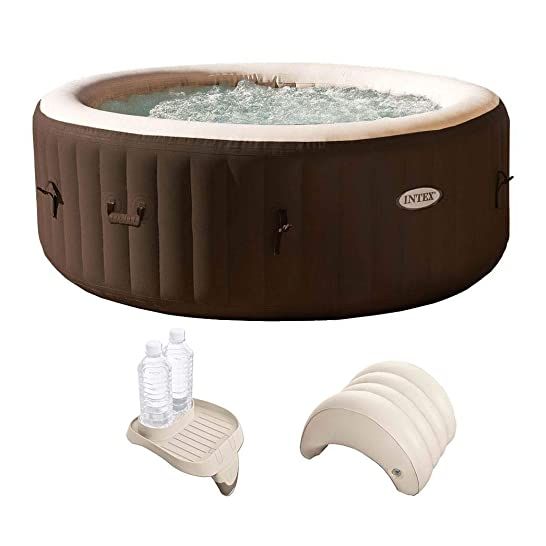 Intex PureSpa 4 Person Inflatable Spa Portable Hot Tub with Cupholder Headrest