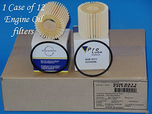 Case of 12 Engine Oil Filter Made in Korea SOE6311 Cross-Reference L16311-57064-CH10358 Fits:CT200h Pontiac Scion & Toyota