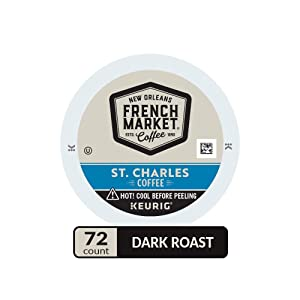 French Market Coffee, St. Charles Blend, Single Serve Coffee K-Cup Pods, Dark Roast, 12 Count (Pack of 6)