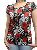US Handmade Fashion SKULLS ROSE TATTOO DAY OF THE DEAD ROCKABILLY SKULLS Scrub Blouse T-SHIRT, SMALL SIZE: TOP-S 1005