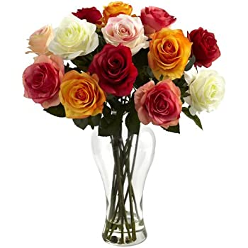 Nearly Natural 1348-AS Assorted Blooming Roses with Vase, Red/Orange