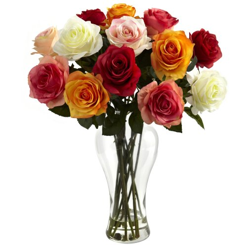 Nearly Natural 1348-AS Assorted Blooming Roses with Vase, Red/Orange (18 Roses Assorted)