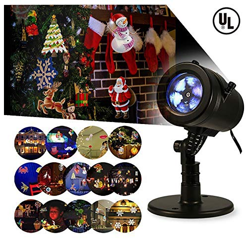 Bjour Halloween Christmas Light Projector Outdoor Indoor Decorations Waterproof with 14 Rotating Slides and 4 Speed Modes,9W, UL Listed, YG-FL02 for $<!--$24.98-->