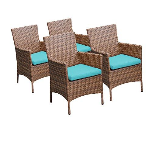 TKC Laguna Wicker Patio Arm Dining Chairs in Aruba (Set of 4) ()