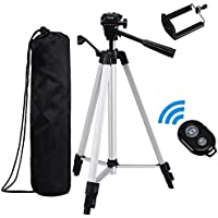 Tobeape 50-inch Tripod for iPhone and Camera, Aluminum Universal Camera Tripod with Cell Phone Holder Mount and Bluetooth Wireless Remote Control Camera Shutter for iPhone, Samsung Galaxy and more