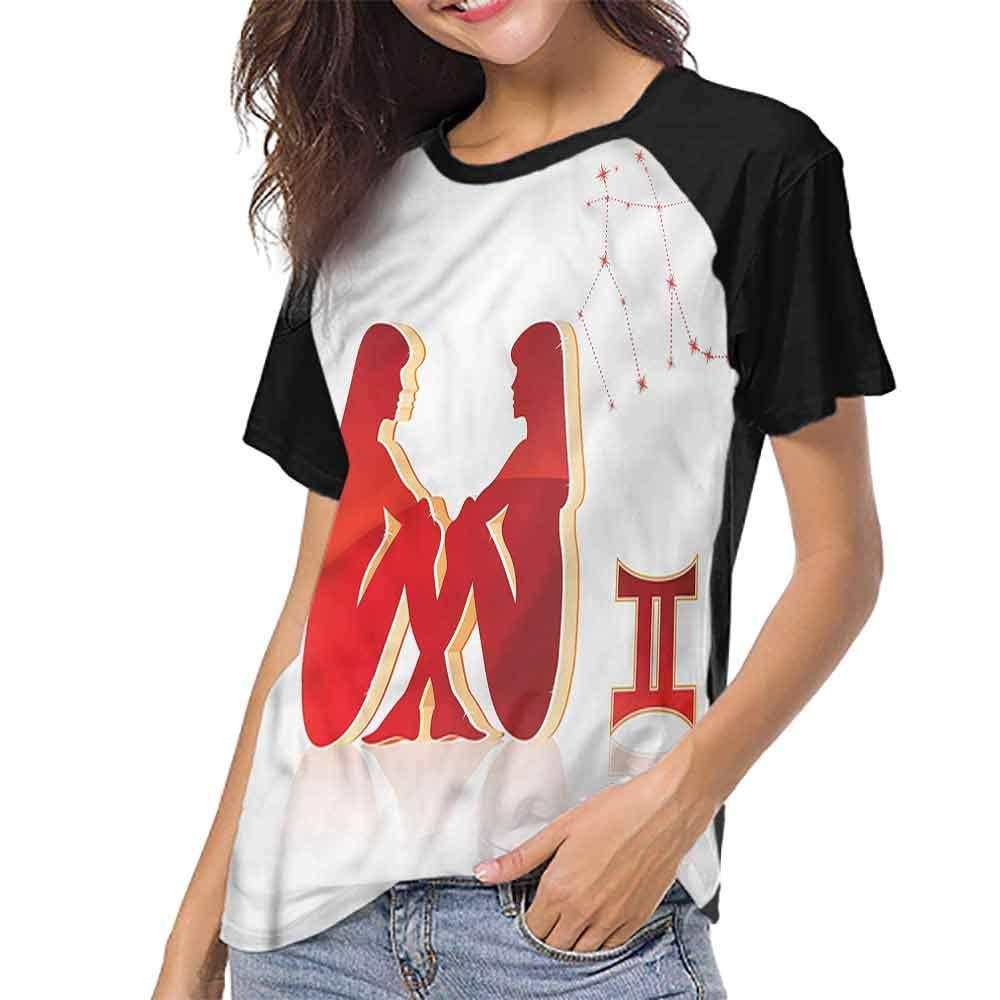 Summer Casual O-Neck,Zodiac Gemini,Twins of Zodiac S-XXL Girls Short Sleeves Tight
