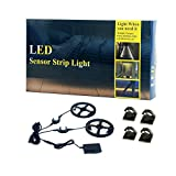 Dual Sensor- 2 x 1.5M Motion Activated Double Bed Night Lights,Warm White LED Timer Sensor Strip Light for Kids Bedroom Closet Cabinet Kitchen Stair Exit Lighting
