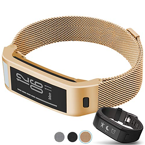 C2D JOY Compatible with Garmin vivosmart HR+Plus Replacement Band with Metal case, Metal Weave Strap for Daily Wear Soft, Breathable Activity Tracker Accessories Watchband - 1607, S/5.0-7.0 in.