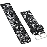 Woodln 22MM Straps Replacement Fitness Wristband Smart Watch Strap Band for Pebble Time Asus Zenwatch 1st 2nd / Moto 360 2nd Men's 46mm / G Watch R/LG Watch Urbane/Gear 2 R380 (Silver Flower)