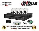 Dahua DH-HCVR4104HS-S2 4CH HDCVI DVR 1Pcs + Dahua DH-HAC-HDW1100RP-0360B 1MP Dome Camera 4Pcs + 1TB HDD + Active Copper Cable + Active Power Supply Full Combo Kit.