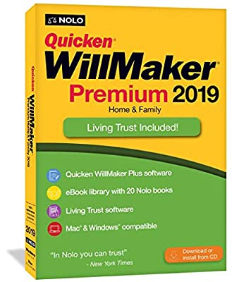 Quicken WillMaker Premium 2019 Home & Family - Windows & Mac - CD & Download KeyCard - Includes Living Trust Software and 1-Year Online Promissory Note