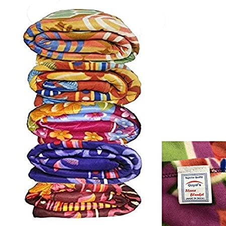 Goyals Single Bed Multicolor Printed Fleece Blanket - Set of 5