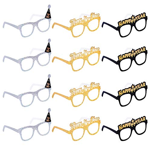 LUOEM Happy New Year Eyeglasses Fancy Decorative Eyeglasses Celebration Party Favor for 2019 New Year's Eve Party Decors,Pack of 12 -