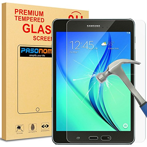 Galaxy Tab A 8.0 Screen Protector, Pasonomi [9H Hardness] [Crystal Clear] [Scratch-Resistant] Premium Tempered Glass Screen Protector Film for Samsung Galaxy Tab A 8.0 SM-T350 2015 Release