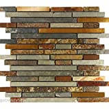 USA Premium Store 10SF Rustic Copper Linear Natural Slate Blend Mosaic Tile Kitchen Backsplash Spa