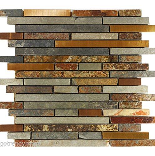 USA Premium Store 10SF Rustic Copper Linear Natural Slate Blend Mosaic Tile Kitchen Backsplash Spa - Slate Mosaic Tiles