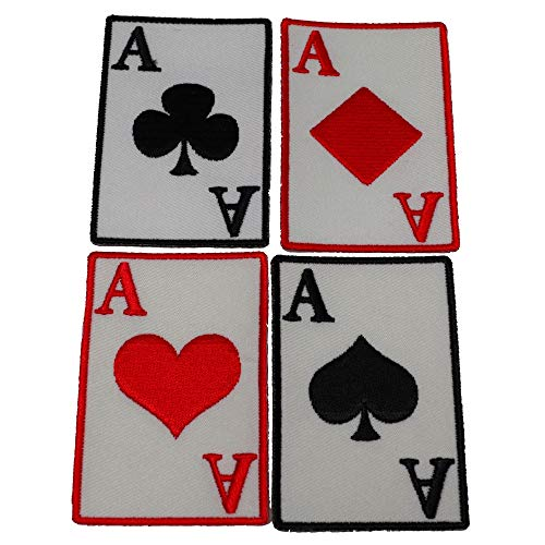 Ace Of Spades Hearts Diamonds and Clubs Patch Set - Iron on Patch - 3 inches