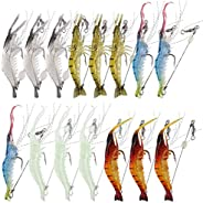 Hilitchi 15 Pcs Soft Shrimp Lures Fishing Bait Luminous Artificial Lures for Freshwater Trout Bass Salmon and