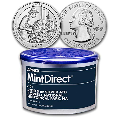 - 2019 5 oz Silver ATB Lowell National (10-Coin MintDirect® Tube) Silver Brilliant Uncirculated