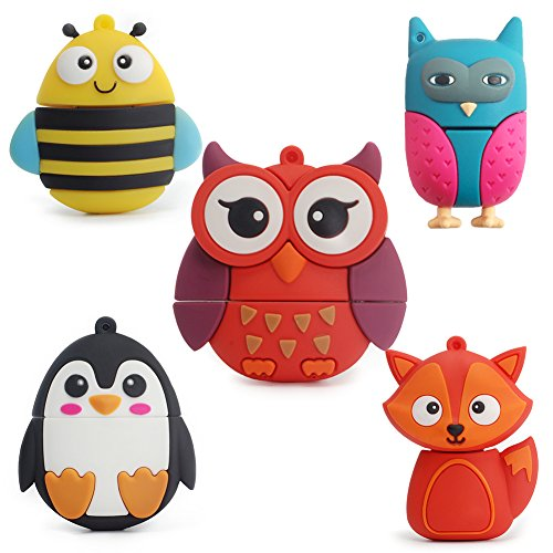 LEIZHAN 5X8GB Cute Animals USB Flash Drive With Chain Bee Fox Owls Penguin Pen Drive Gifts for School Kids and Students(Pack of 5 Animals) by leizhan