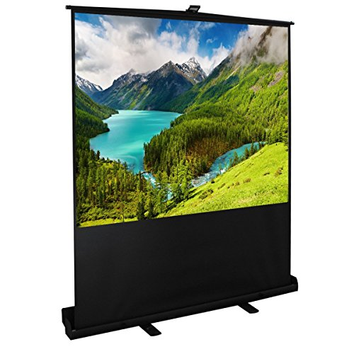 Cloud Mountain Easy Use 100 Inch 4:3 Diagonal Portable Pull up Floor Projector Projection Screen in Aluminium Case , Matte White 1.3 Gain by Cloud Mountain