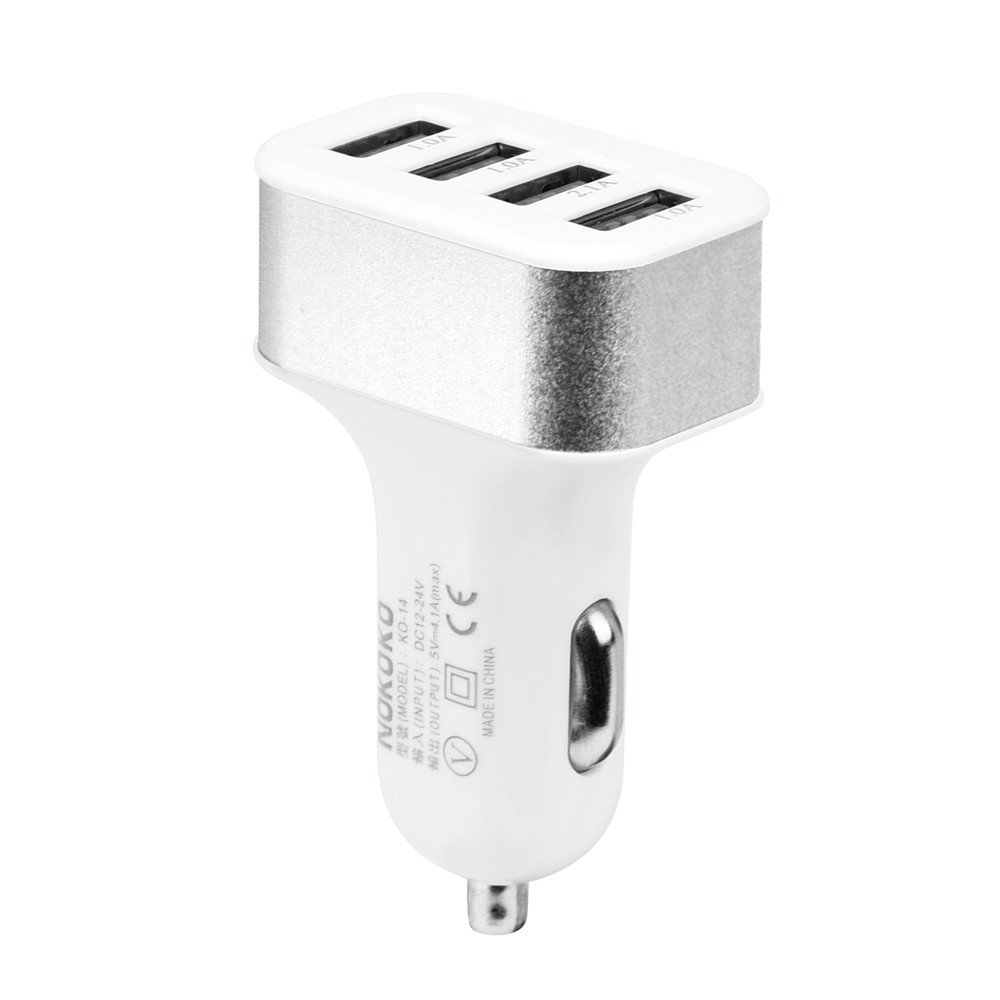 Polwer Car Charger, Car USB Adapter Charger Charging Metal Socket 4 Port Mobile Phone Fast Charger (Silver)